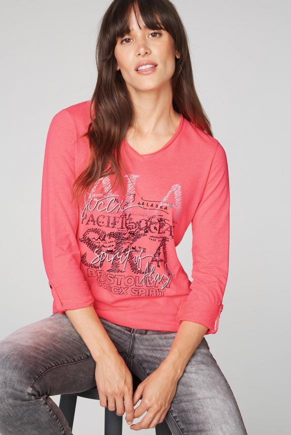 Langarmshirt mit Used-Kanten und Glitter Print flashy red