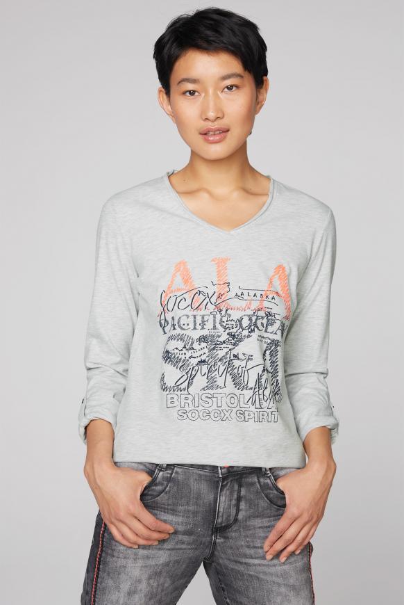 Langarmshirt mit Used-Kanten und Glitter Print ivory melange