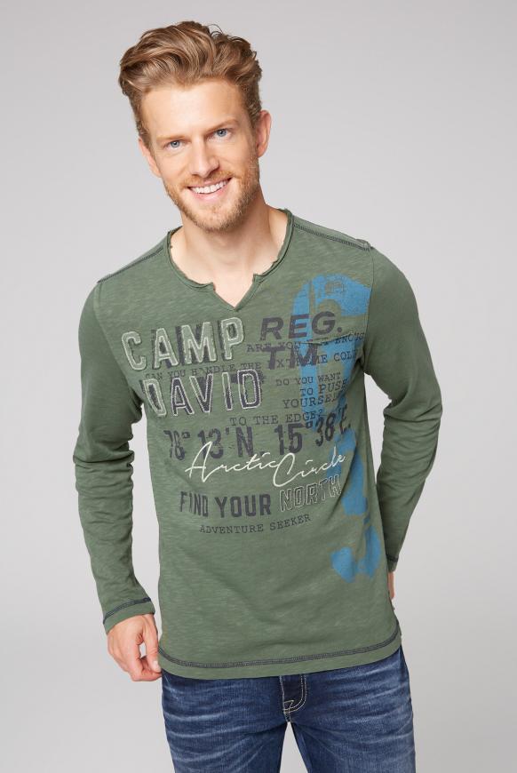 Langarmshirt mit Used-Optik und Artwork pure olive