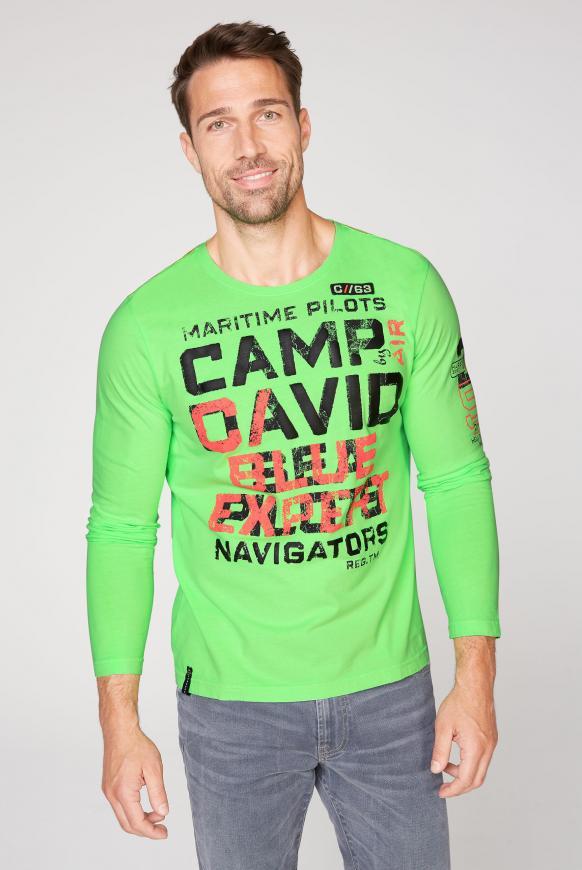 Langarmshirt mit Used Prints neon green