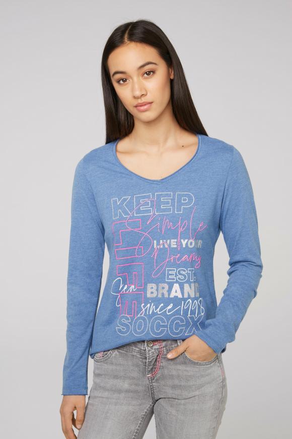Langarmshirt mit V-Ausschnitt und Artwork blue melange