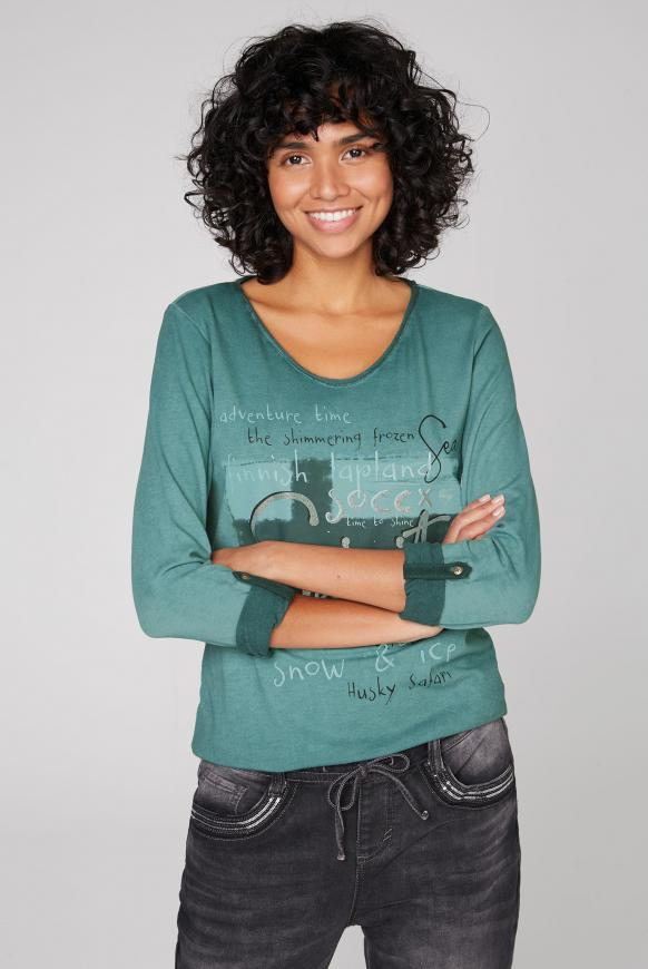 Langarmshirt Oil Dyed mit Artwork arctic green