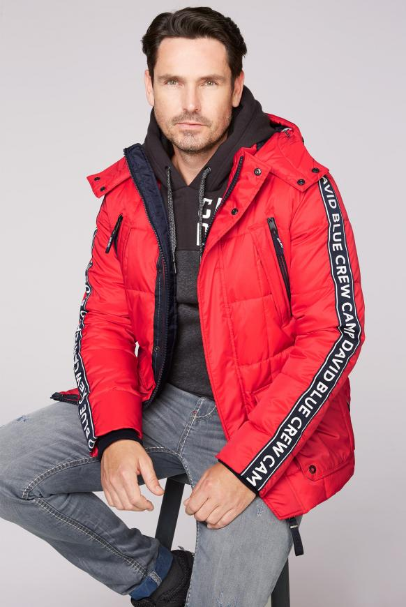 Lange Steppjacke mit Kapuze und Logo-Tapes speed red