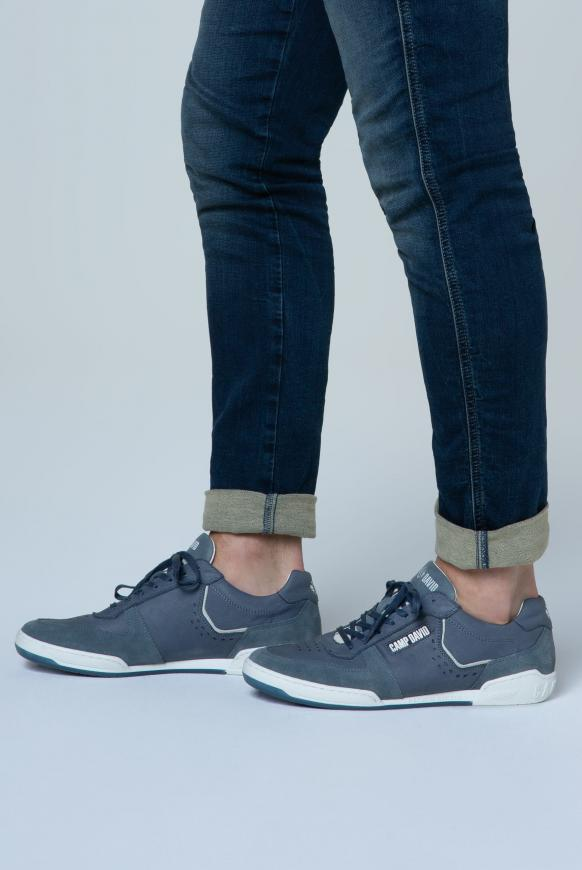 Leder-Sneaker mit Logo-Applikationen grey blue