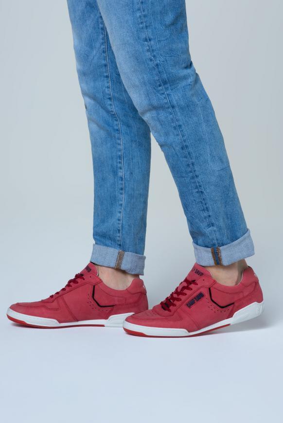 Leder-Sneaker mit Logo-Applikationen cardinal red