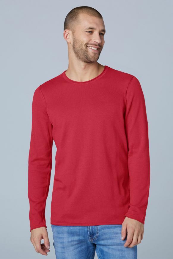 Leichter Pullover mit Rollsäumen cardinal