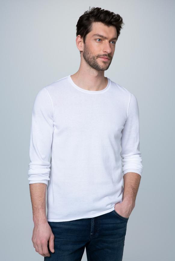 Leichter Pullover mit Rollsäumen opticwhite