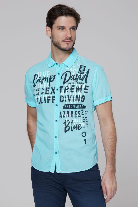Leichtes Freizeithemd mit Frontprint fresh aqua