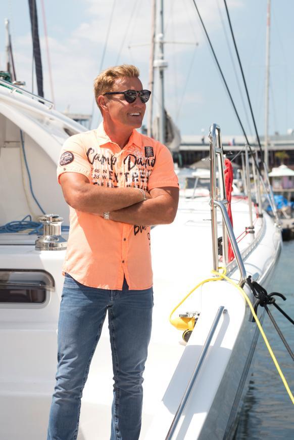 Leichtes Freizeithemd mit Frontprint neon orange