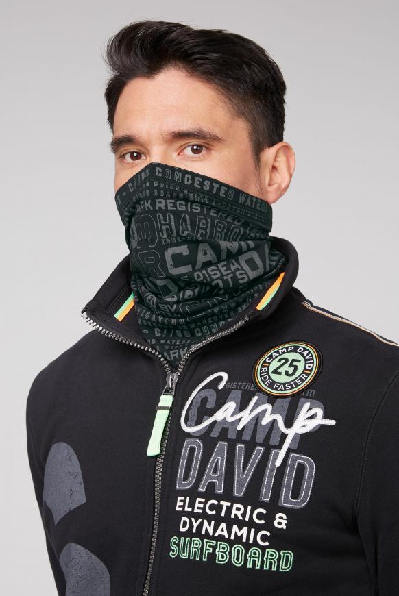 Loop-Schal-Maske mit Used Print black