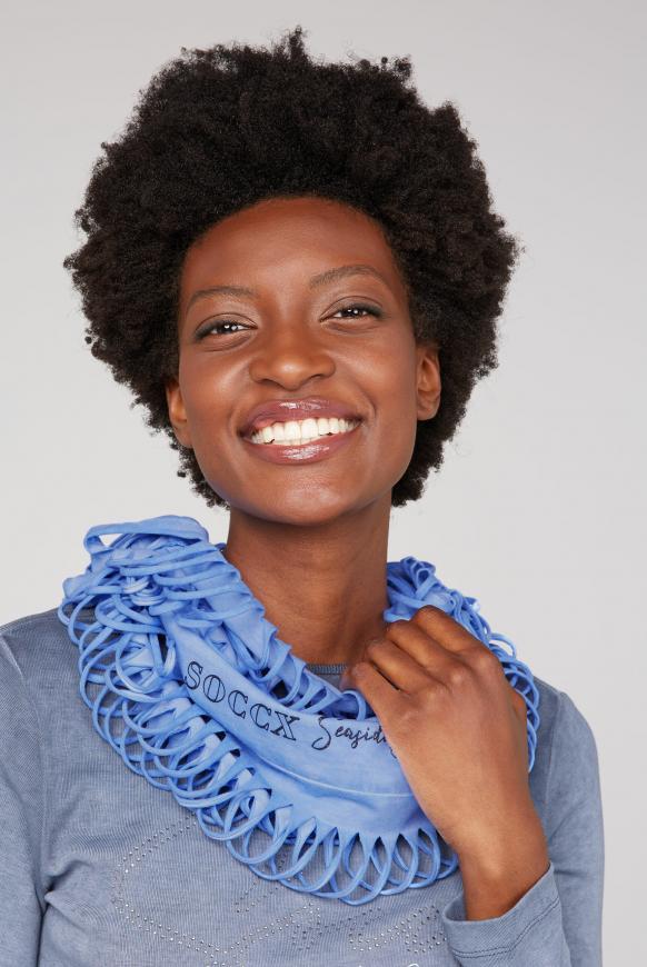 Loop-Schal mit Cut-Outs und Logo Print soft sky