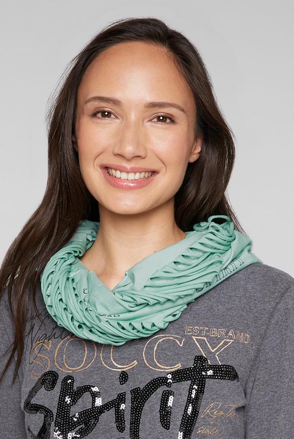 Loop-Schal mit Cut-Outs und Logo Print frozen aqua