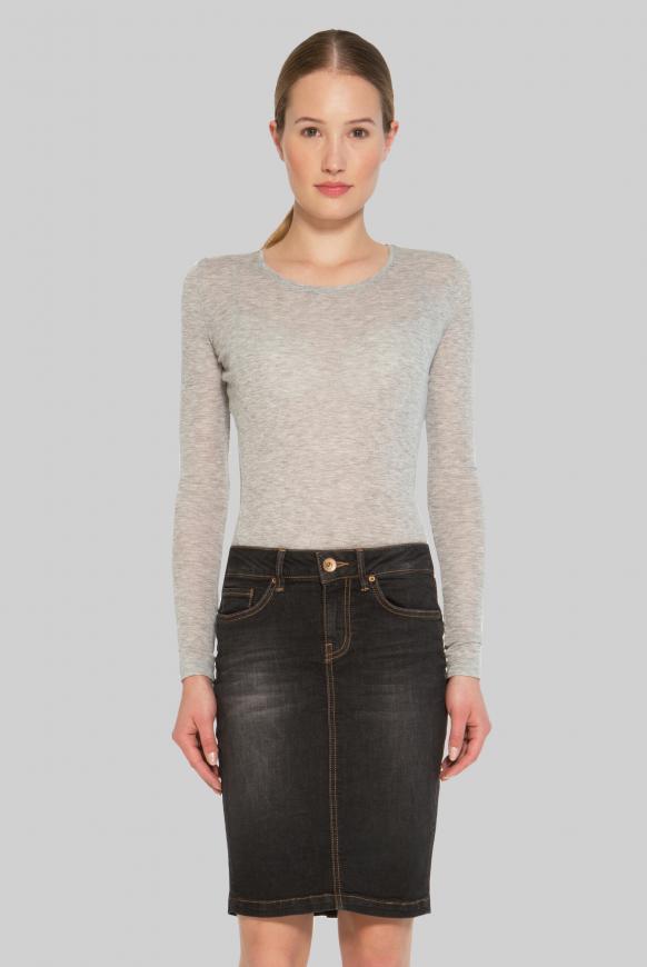 Meliertes Jersey-Langarmshirt grey melange