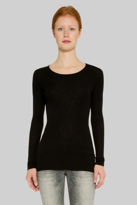 Meliertes Jersey-Langarmshirt black