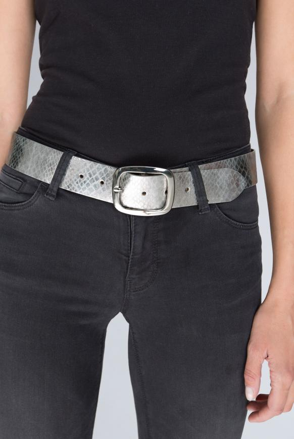 Metallic-Gürtel mit Snake-Muster silver