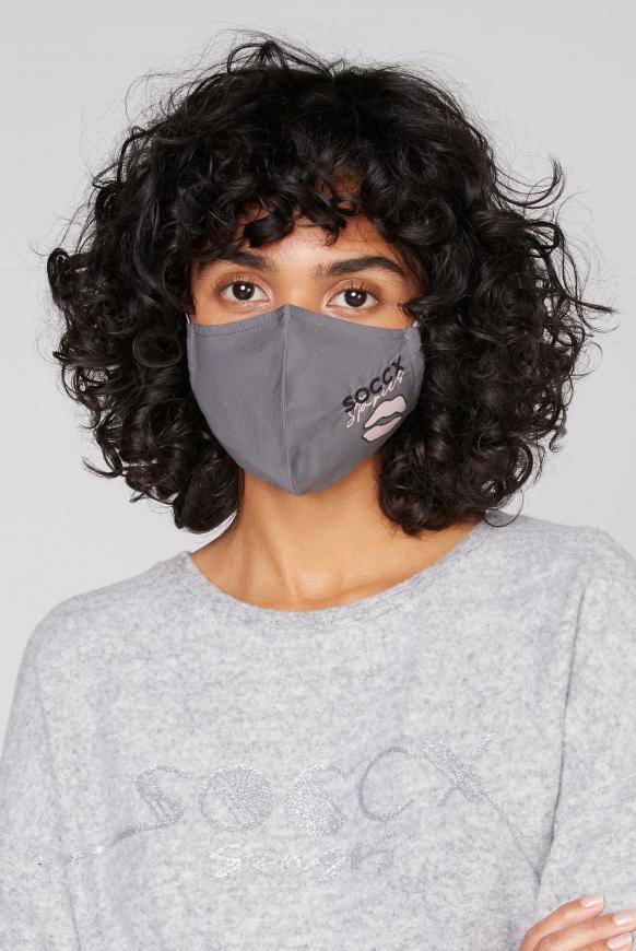 Mund-Nasen-Bedeckung mit Artwork  anthrazit