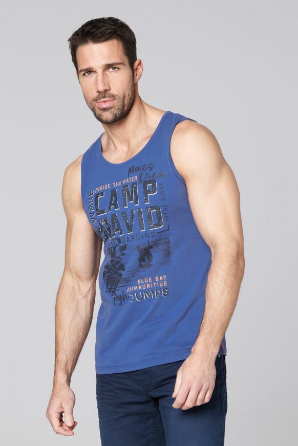 Muskelshirt mit Photo- und Puff-Print action blue