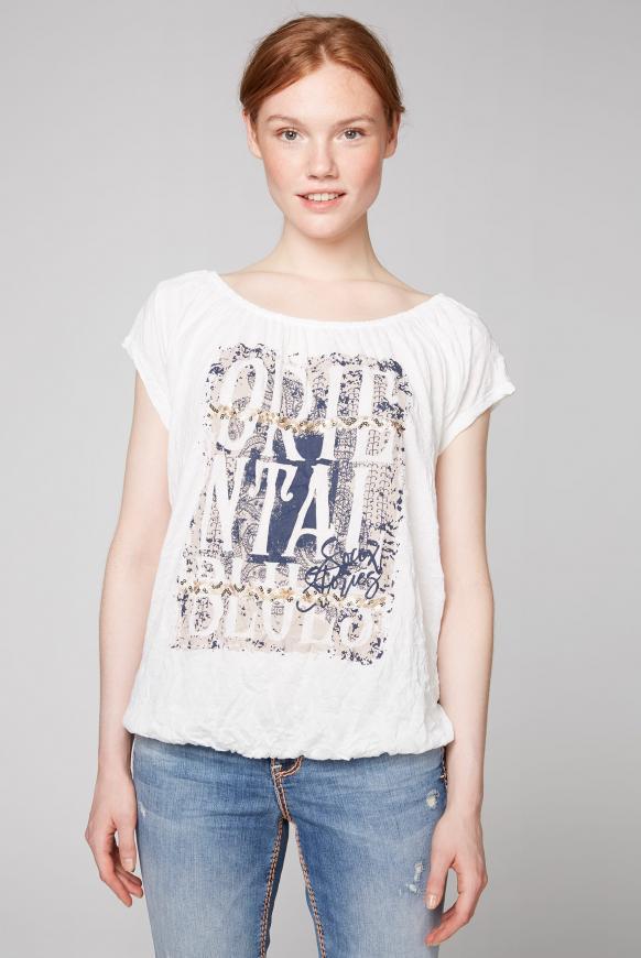 Off-Shoulder-Shirt mit Knitter-Effekt ivory