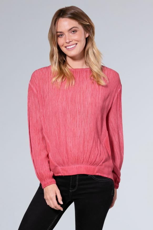 Oversized-Bluse im Materialmix dusky red