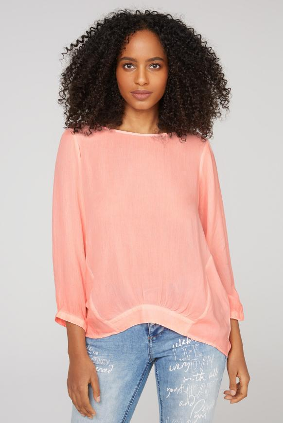 Oversized-Bluse im Materialmix orange glow