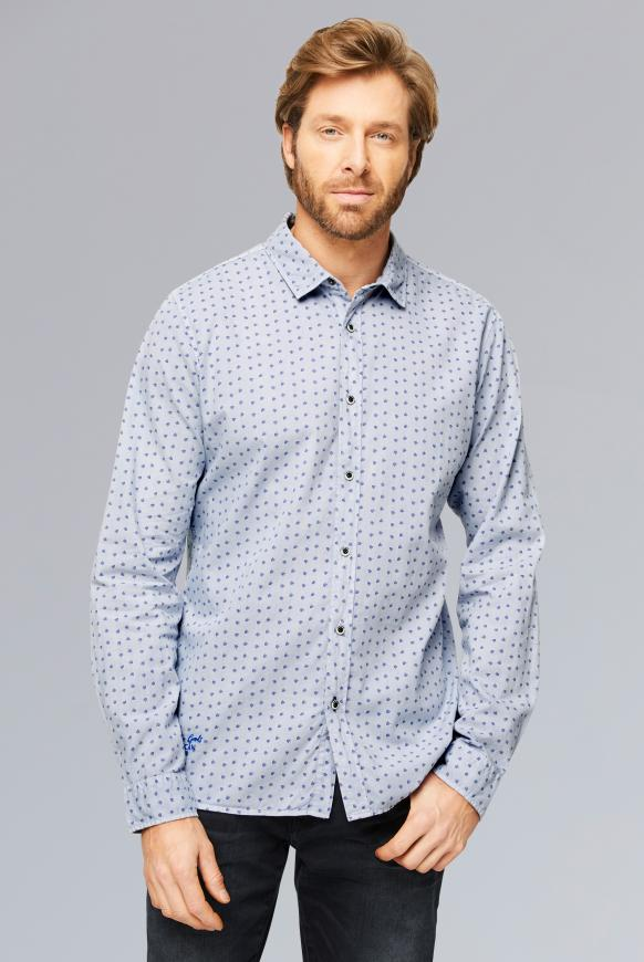 Oxford-Hemd mit All Over Print, Muscle Fit blue steel