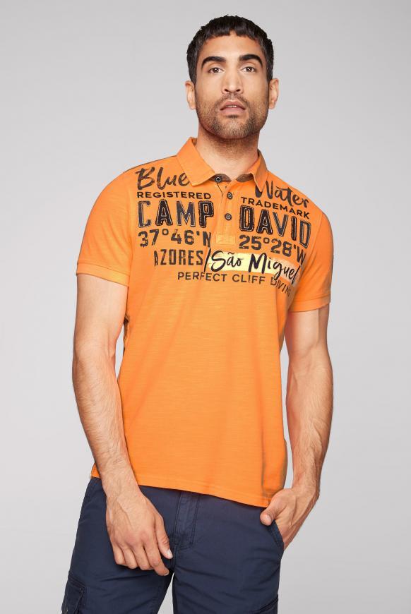 Pikee-Polo aus Flammgarn mit Twill-Kragen neon orange
