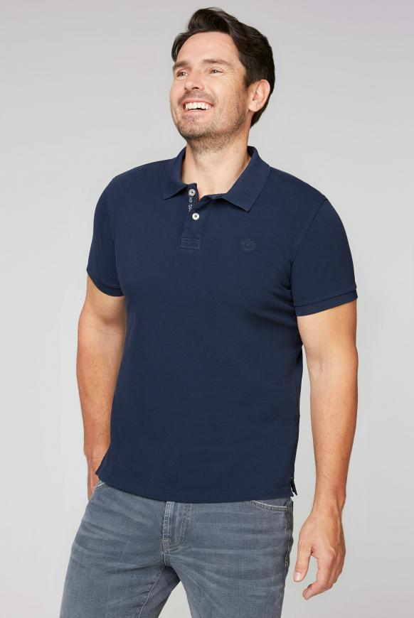 Pikee-Polo mit Used-Waschung absolute blue