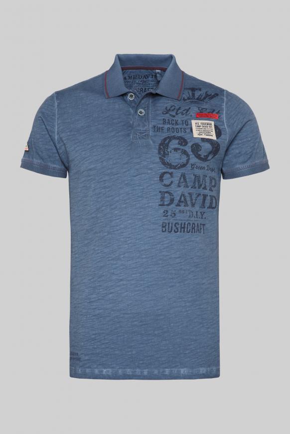 Polo mit Label-Applikationen und Trikotkragen blue grey