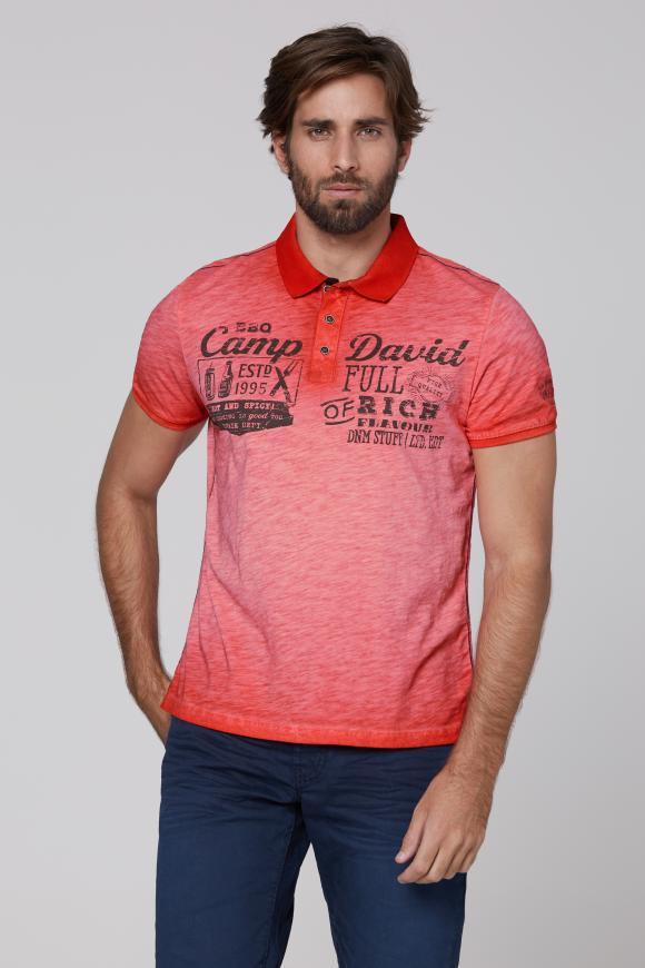 Poloshirt aus Flammgarn mit Vintage Print fire red
