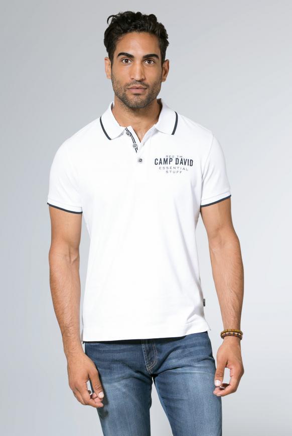 Poloshirt aus Jersey mit kleinem Artwork opticwhite