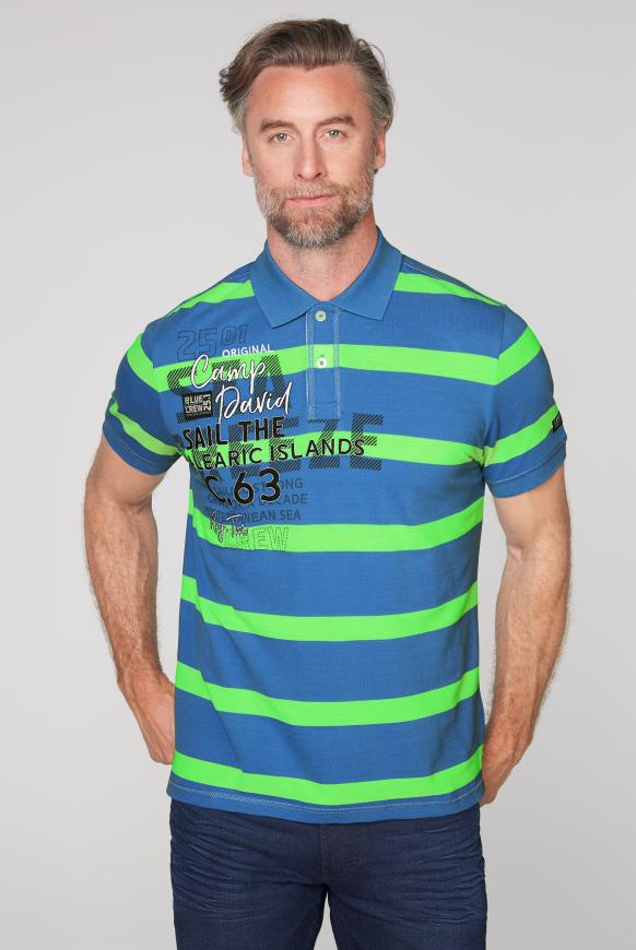 Poloshirt aus Pikee mit Blockstreifen sky blue