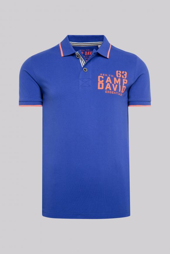 Poloshirt aus Pikee mit Logo Puff Print signal blue