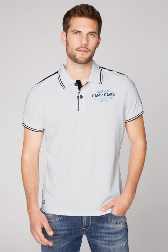 Poloshirt aus Pikee mit Logo-Stickereien opticwhite
