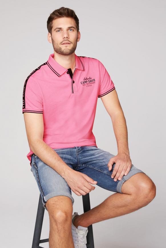 Poloshirt aus Pikee mit Logo-Stickereien neon pink