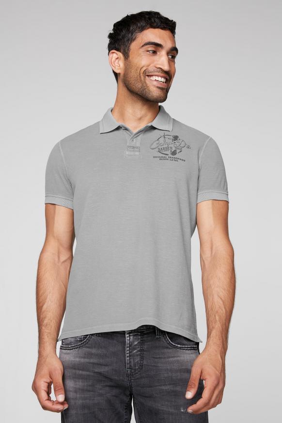 Poloshirt aus Pikee mit Rücken-Print coin grey