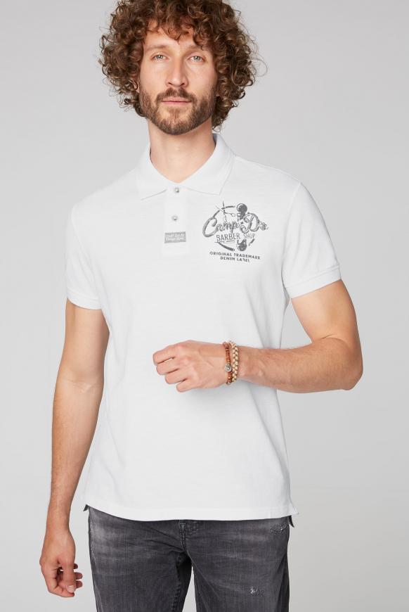Poloshirt aus Pikee mit Rücken-Print opticwhite