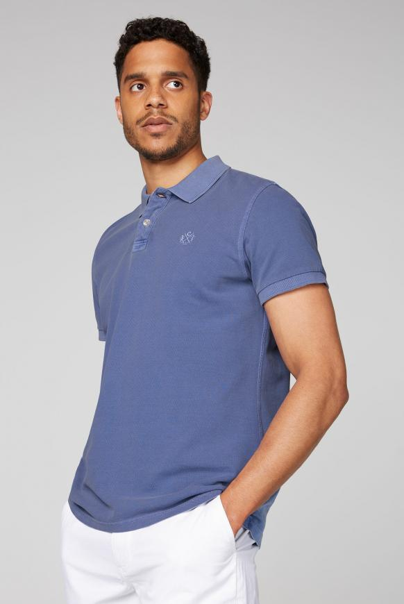 Poloshirt aus Pikee mit tonigem Logostick grey blue