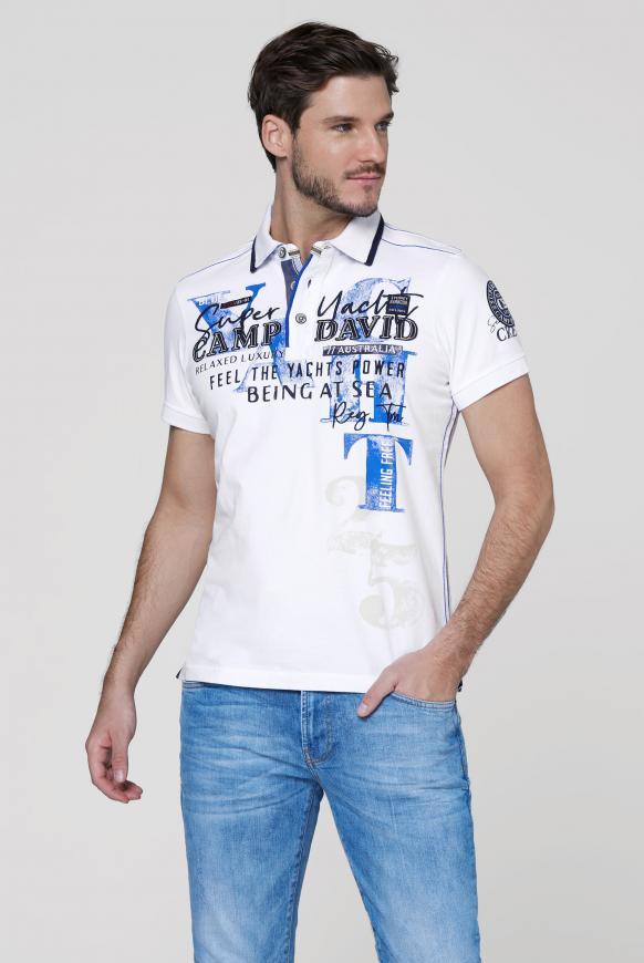 Poloshirt mit Artworks und Kontrast-Details opticwhite
