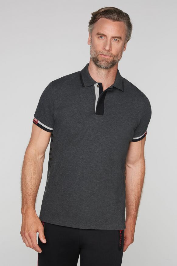 Poloshirt mit Folien-Prints anthra mel
