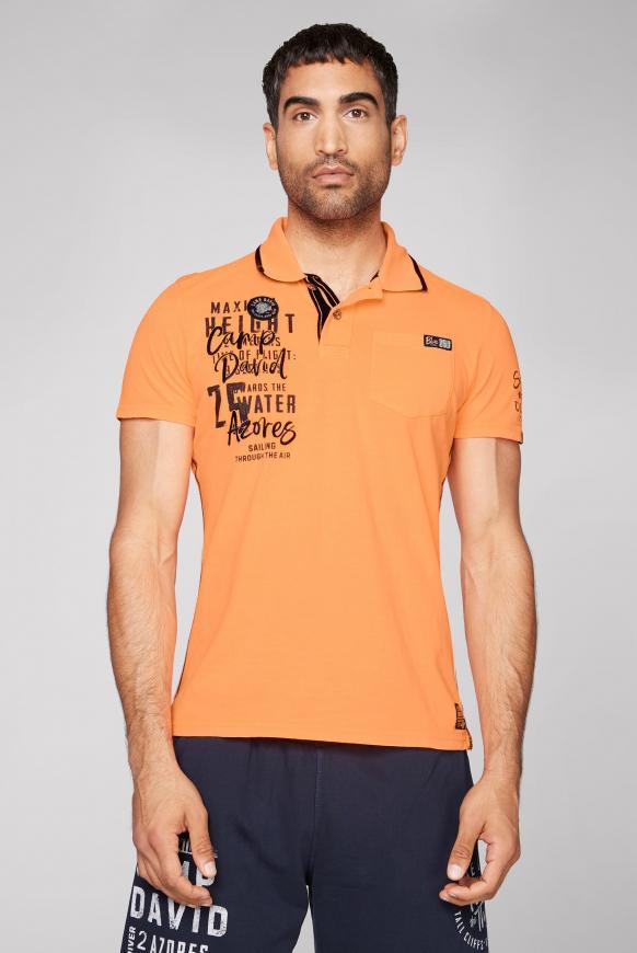 Poloshirt mit Tapes, Tasche und Artworks neon orange