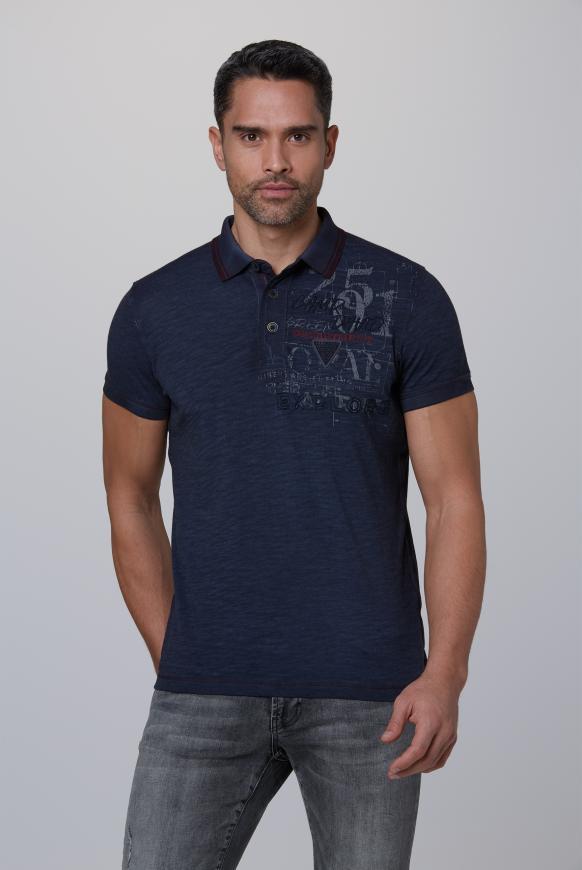 Poloshirt Oil Dyed mit beidseitigen Artworks raw blue