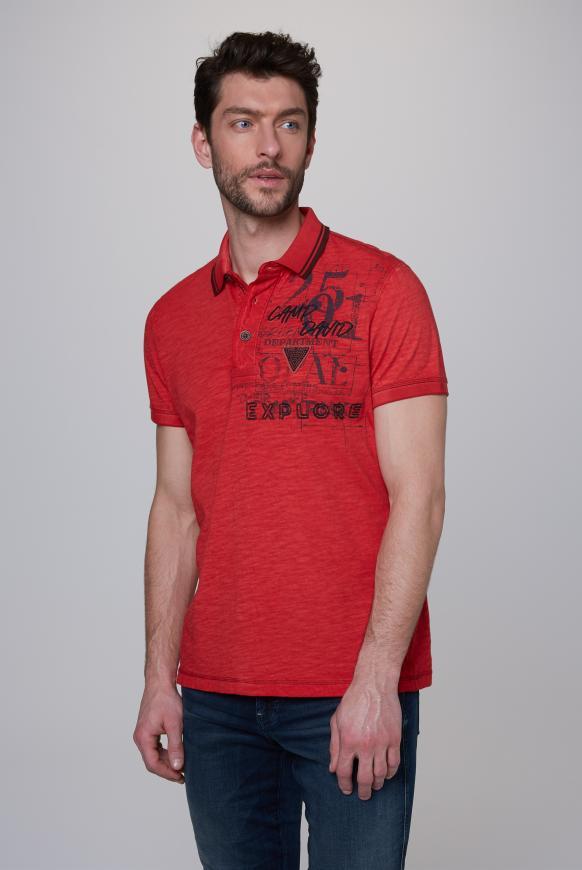 Poloshirt Oil Dyed mit beidseitigen Artworks red orange