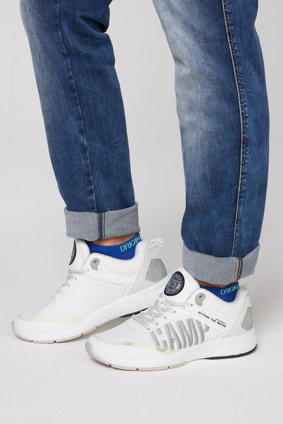 Power Sneaker mit Strick-Struktur und Logo white