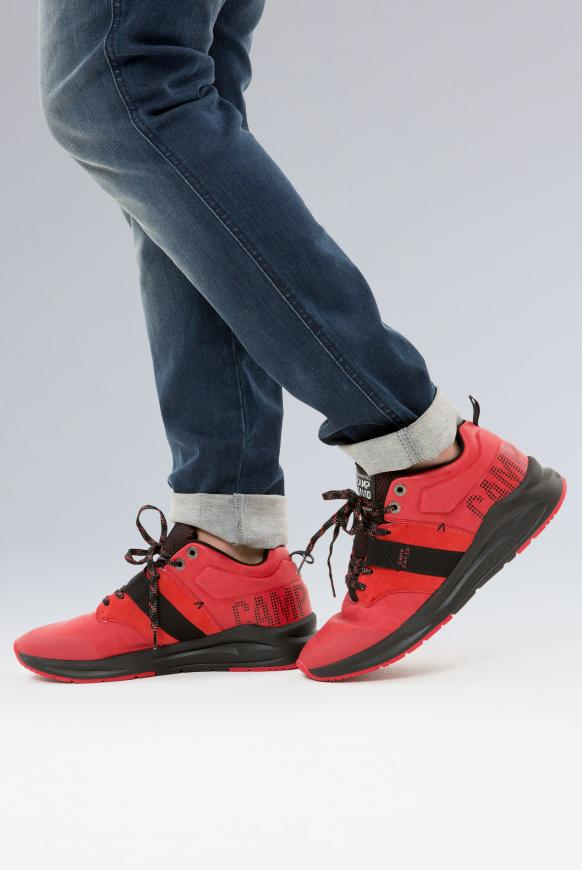 Premium Sneaker im Materialmix mit Logo royal red