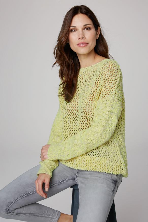 Pullover aus Effektgarn mit Lochmuster yellow glow