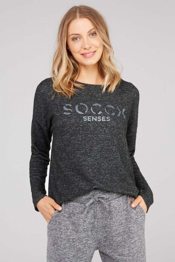 Pullover aus Strickfleece mit Glitter Logo black melange
