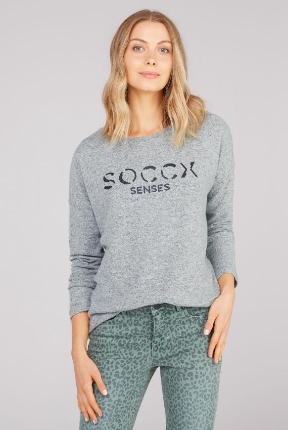 Pullover aus Strickfleece mit Glitter Logo grey melange