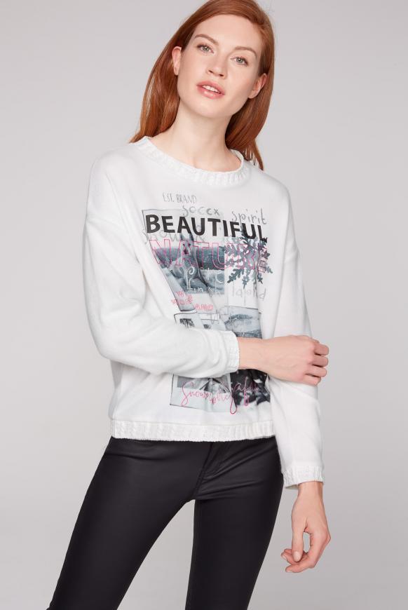 Pullover mit Foto- und Glitter-Print ivory melange
