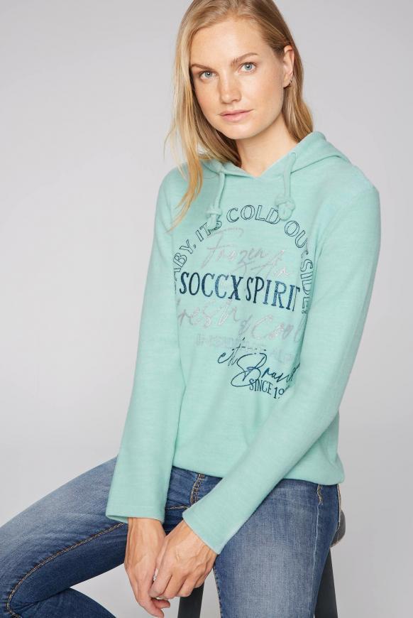 Pullover mit Kapuze und Glitter Print frozen aqua melange