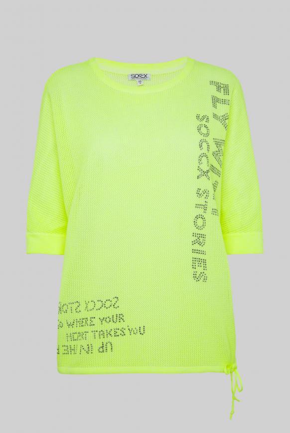 Pullover mit Mesh-Struktur und Artwork summer lime